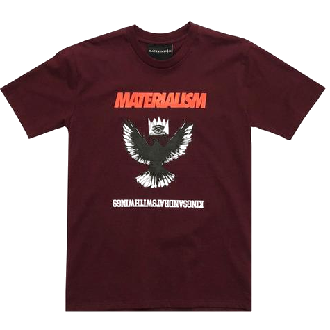 Materialism Kings & Wings Tee Maroon