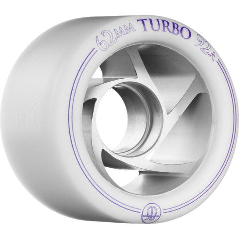 Rollerbones Wheels Turbo Aluminium Hub 8 Pack White 62mm