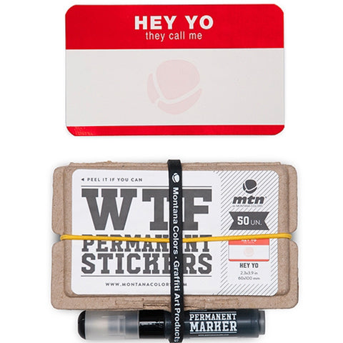 MTN WTF Red Stickers Set Hey Yo 50 units & Marker