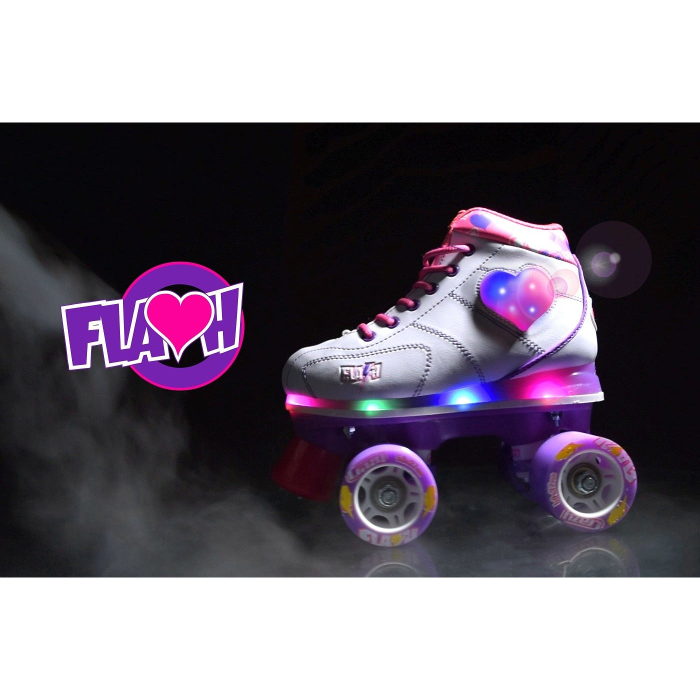 Crazy Skates Flash Roller Skates White (Heart)