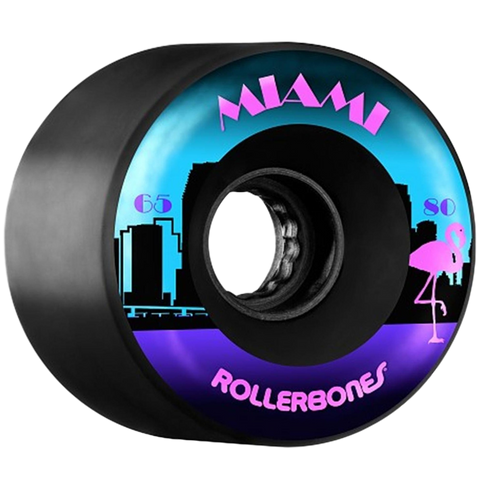 Rollerbones Wheels Outdoor Miami 65mm x 80A Black 8 Pack