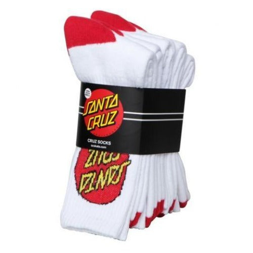 Santa Cruz Big Dot Socks 4pk Youth White