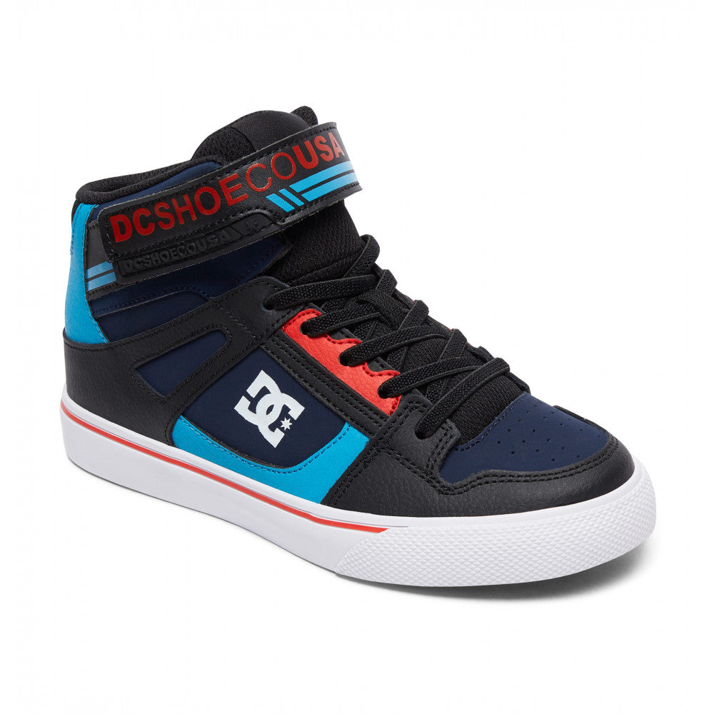 DC Pure High Top EV Youth Shoe Blue/Black/Red