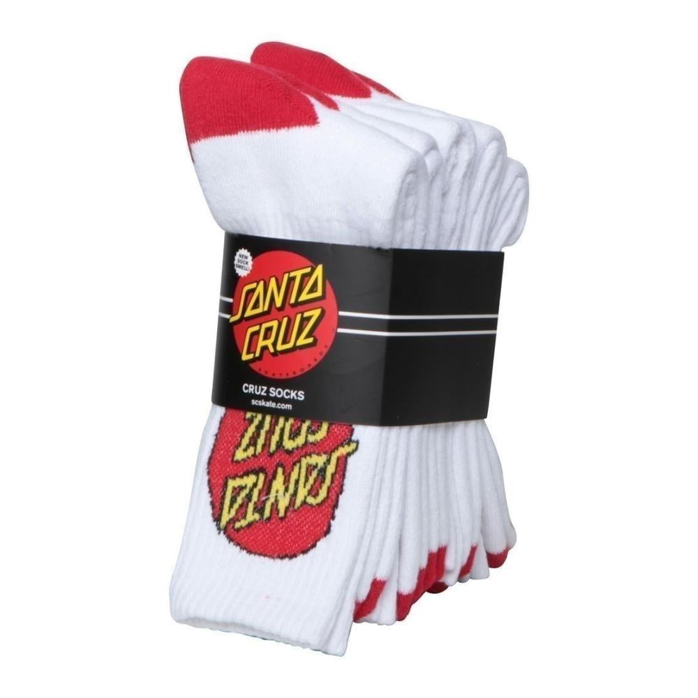 Santa Cruz Big Dot Socks 4pk White