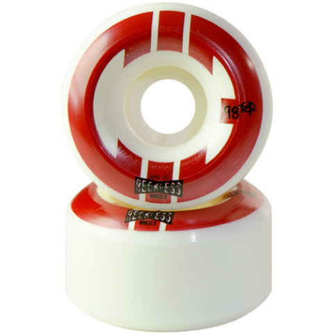 Reckless Wheels CIB Street 55mm 98a White Red 4 Pack