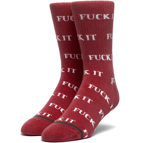 Huf F#@K It Sock Rosewood Red