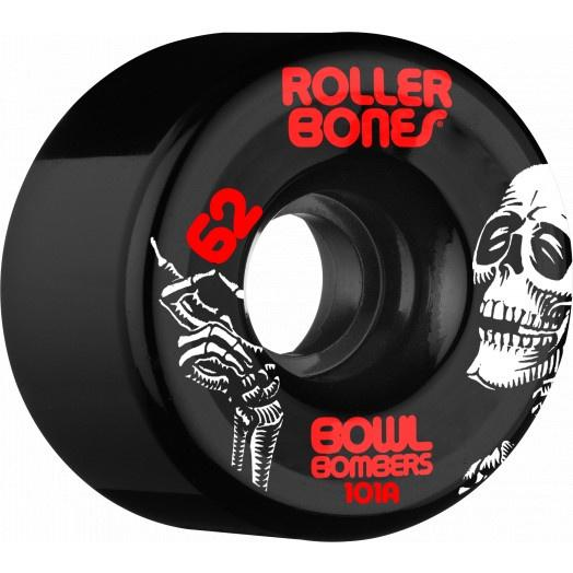 Rollerbones Wheels Bowl Bombers 62mm x 101a Black 8 Pack