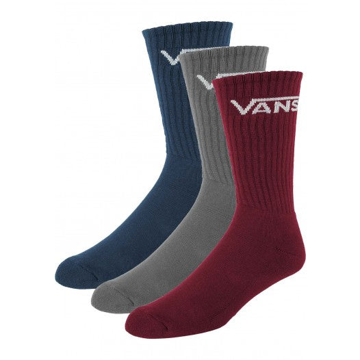 Vans Classic Youth Crew Sock Multi-Color Red 3 Pack