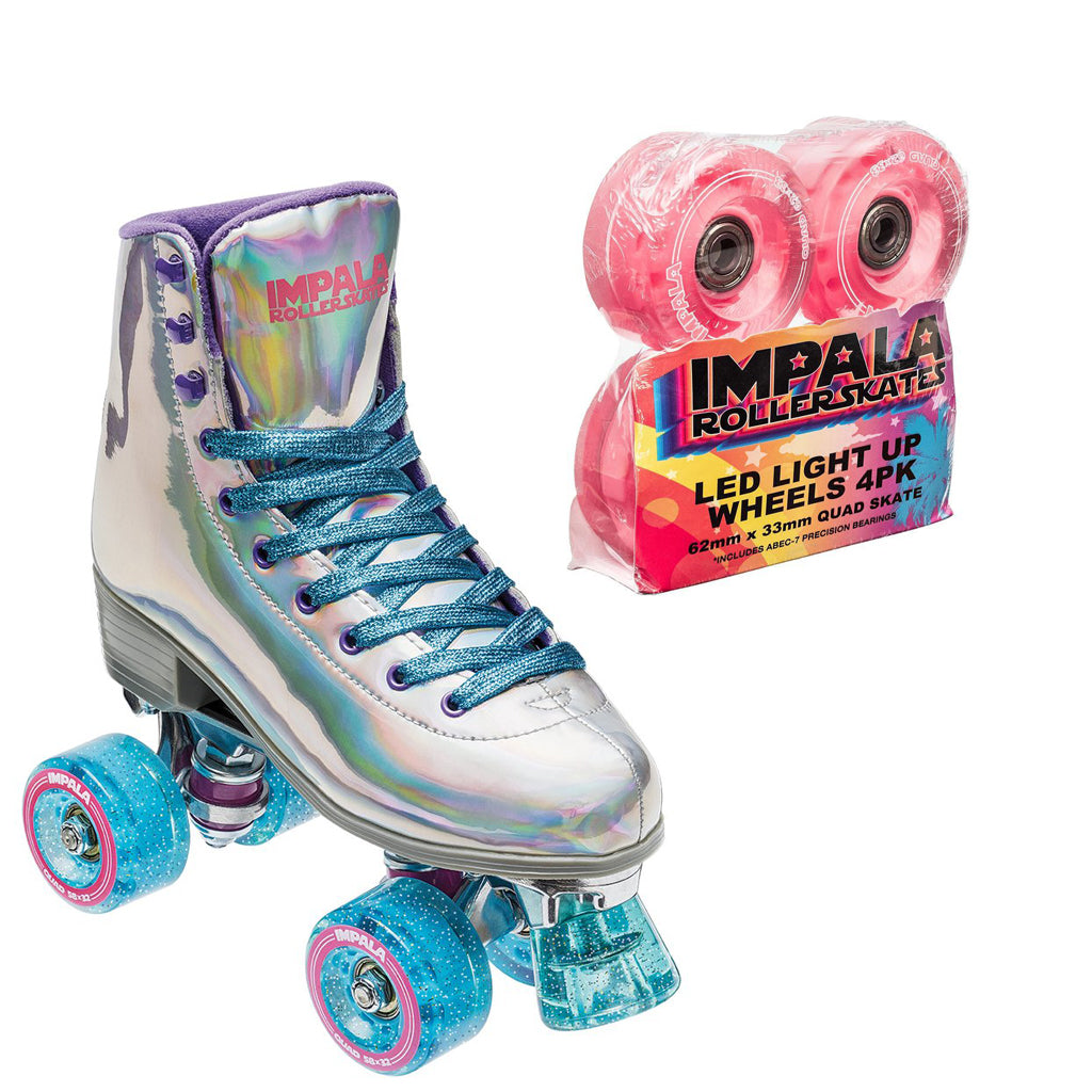 ca7c601a5e7c89 Impala Sidewalk Holographic Rollerskates w Pink Light Up Wheels