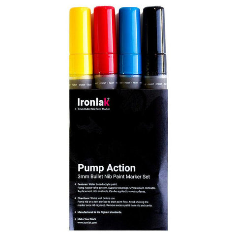 Ironlak 3mm Chisel Paint Marker 4pc Set (Primary Colour Set)