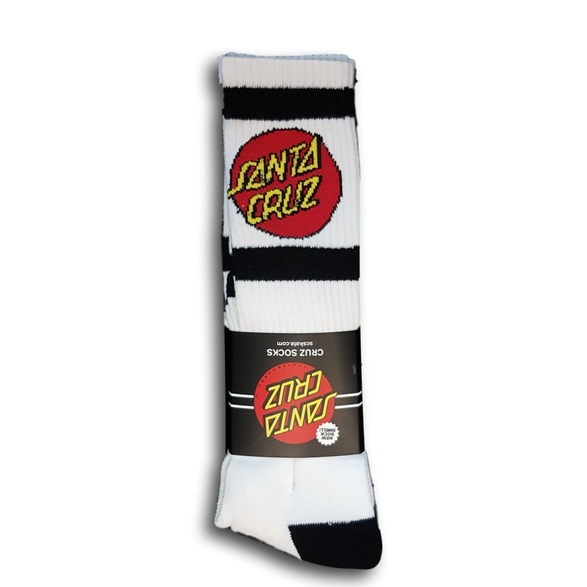 Santa Cruz SC Strip Tall Socks (2 pack) White/Black