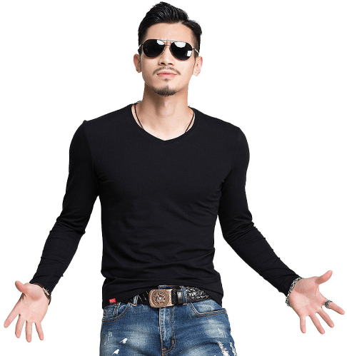 Slim Fit Fashion O-Neck and V-Neck Casual Shirt - Men's Long Sleeve Tee - HeathLeaf