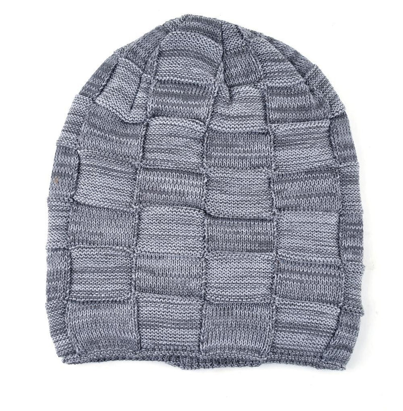 Mens Winter Knitted Wool Skullies Warm Casual Plaid Beanie Flat