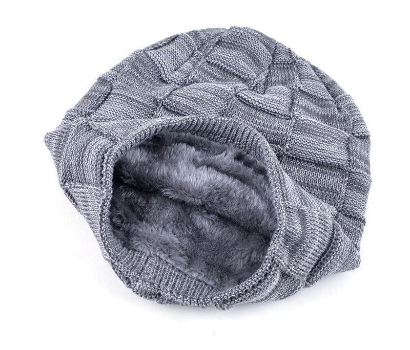 Mens Winter Knitted Wool Skullies Warm Casual Plaid Beanie Inside