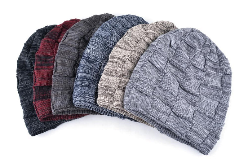 Mens Winter Knitted Wool Skullies Warm Casual Plaid Beanie Varieties
