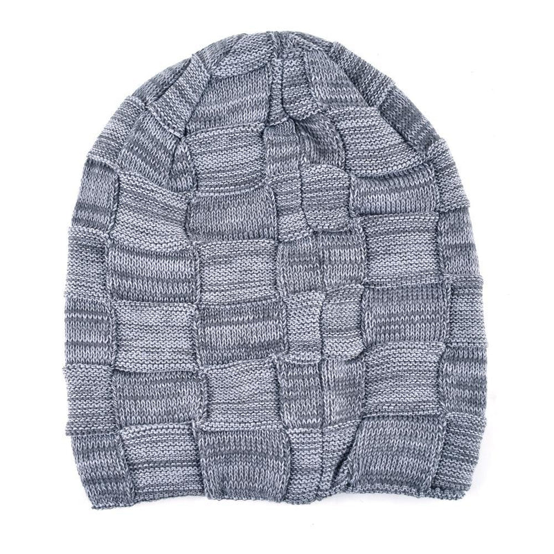 Mens Winter Knitted Wool Skullies Warm Casual Plaid Beanie Flat 2