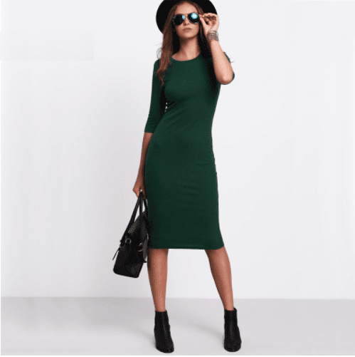 Winter 2018 Bodycon Green Dress Casual Midi Sleeve Style Pose