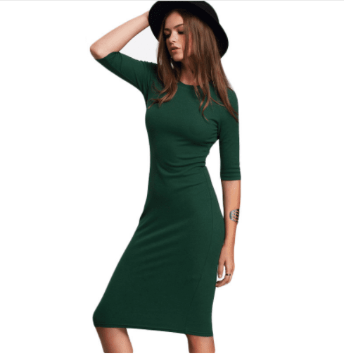 Winter 2018 Bodycon Green Dress Casual Midi Sleeve Style Pose 4