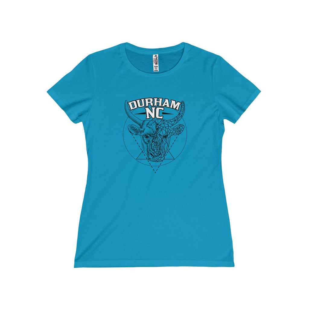 Durham Geometric Bull Head  Women's T-Shirt - HEATHLEAF