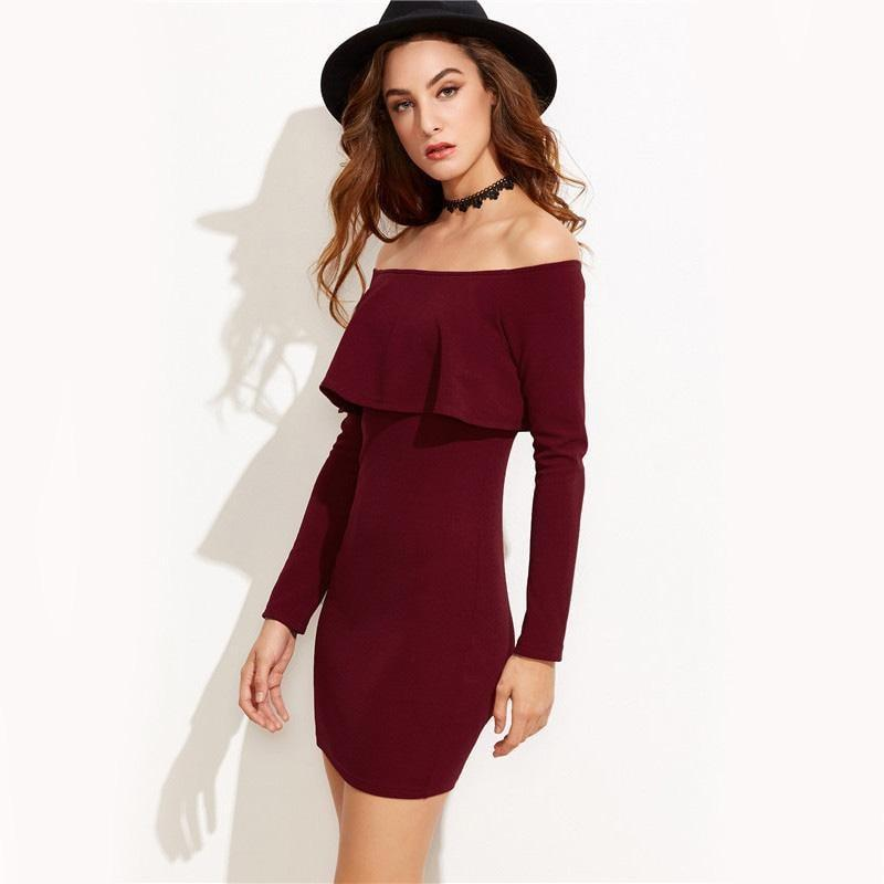 Burgundy Off Shoulder Bodycon Dress - HEATHLEAF