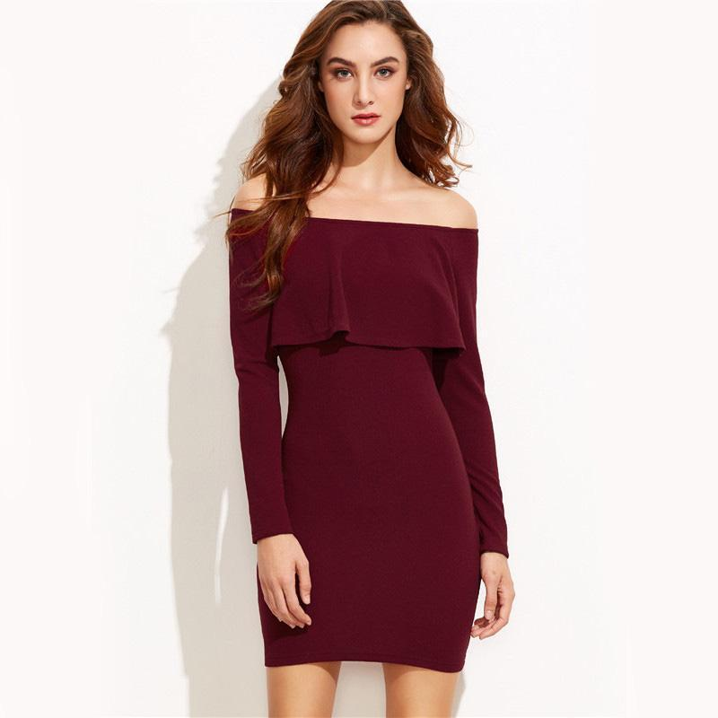 Winter Burgundy Bodycon Off Shoulder Dress Ruffle Mini Front