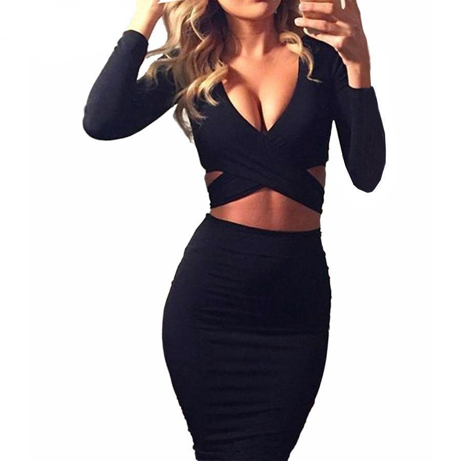 Black Long Sleeve Bandage Dress - HEATHLEAF