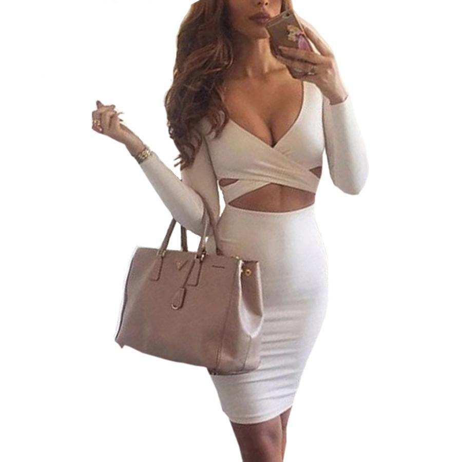 Bandage Bodycon Party Club Dress White