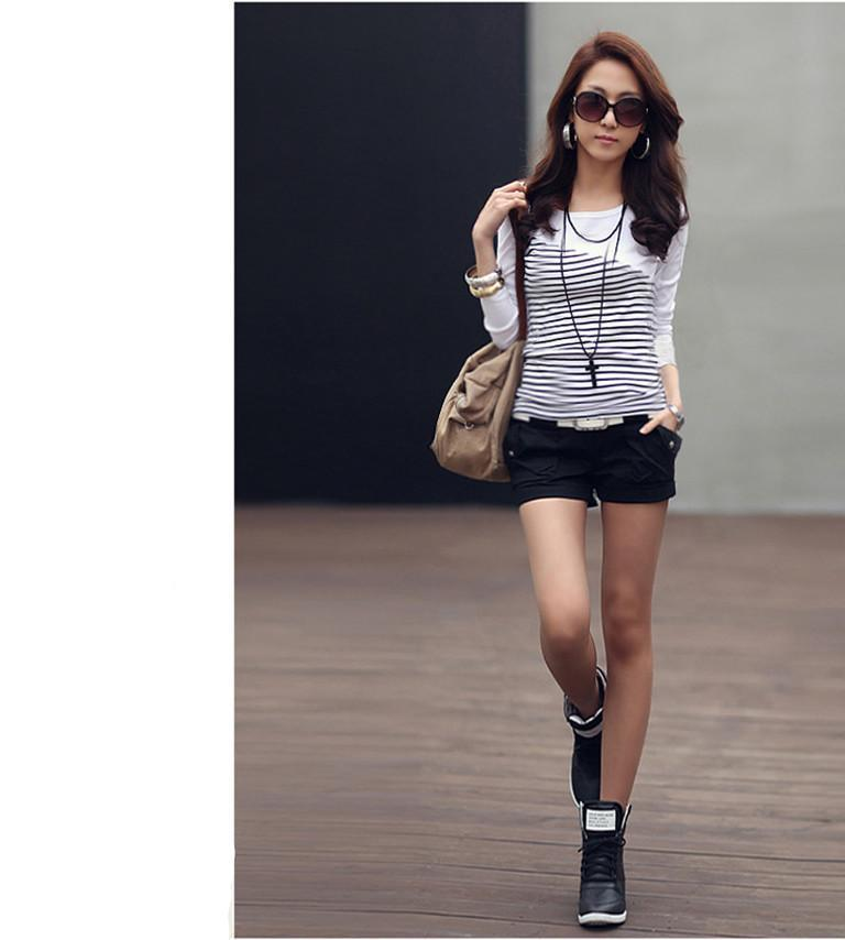 Women's Long Sleeve Striped Casual Top Full Body