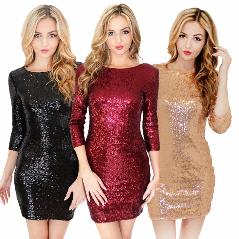 Sequin Backless Party Dress - HEATHLEAF