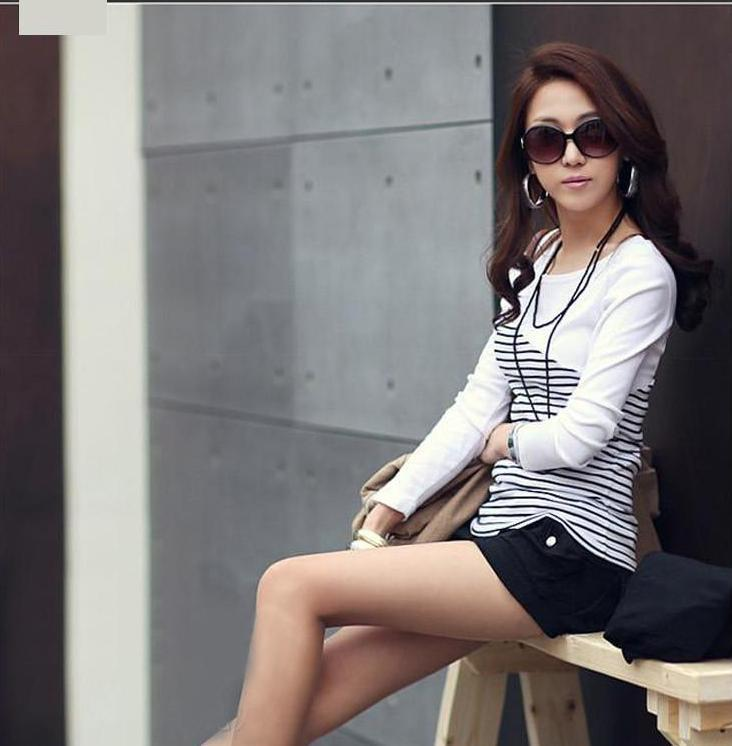Women's Long Sleeve Striped Casual Top Relaxed
