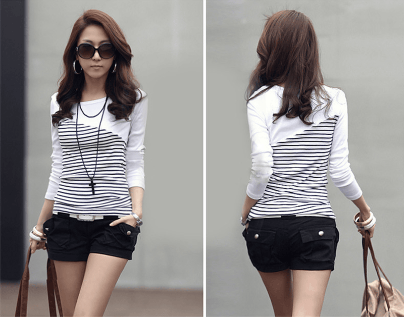 Women's Long Sleeve Striped Casual Top Front and Back