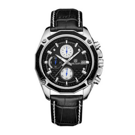 Black White Quality Quartz Chronograph Watch - HEATHLEAF