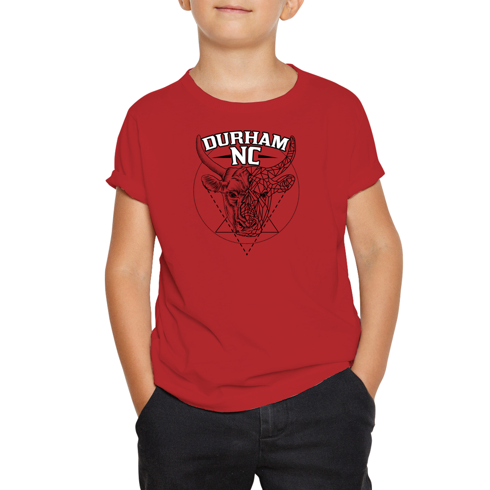 Durham Geometric Bull Head  Children's T-Shirt - HEATHLEAF
