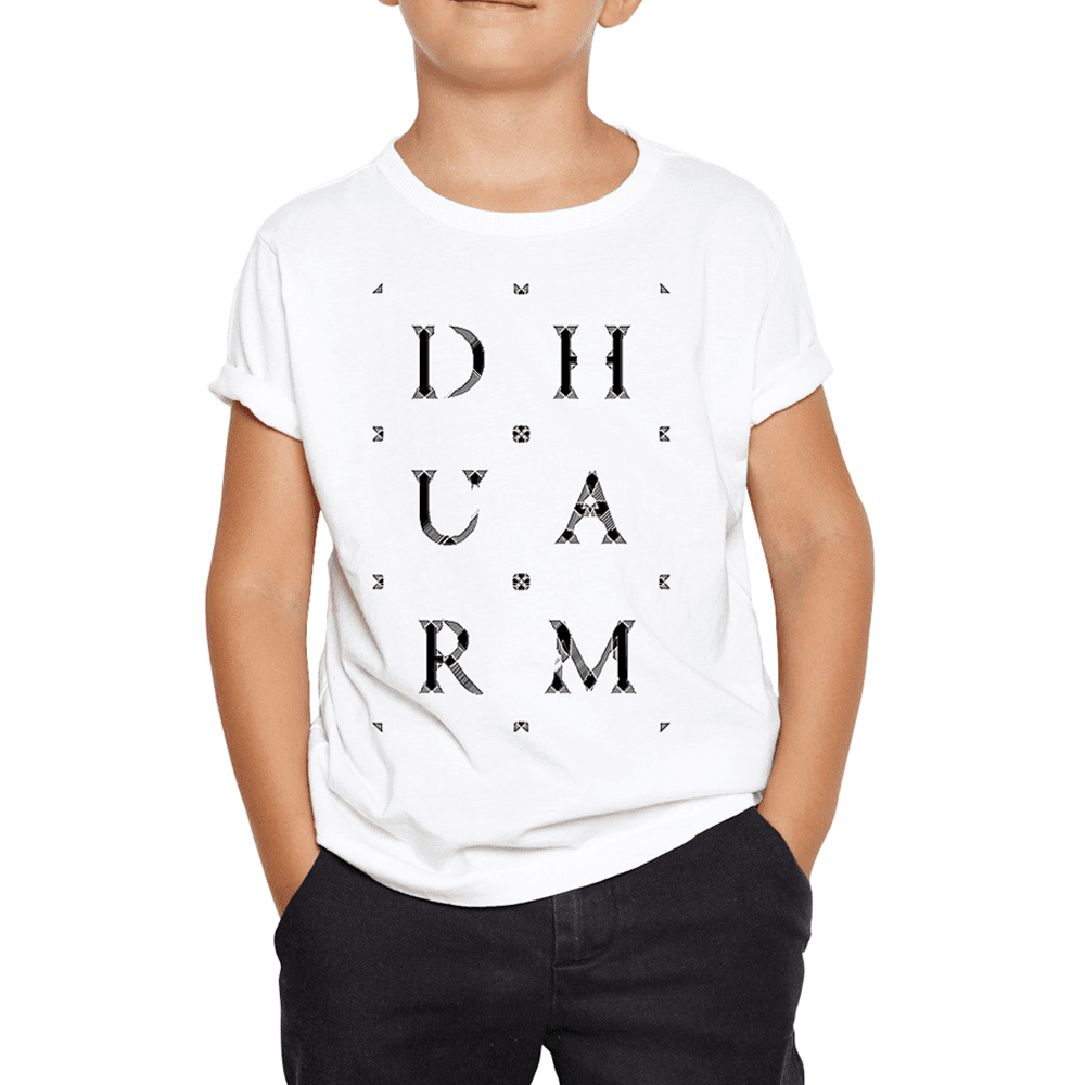 Durham Block Letters Distorted  Children's T-Shirt - HEATHLEAF