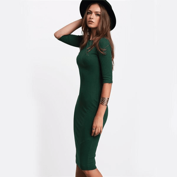 Winter 2018 Bodycon Green Dress Casual Midi Sleeve Style Pose 3