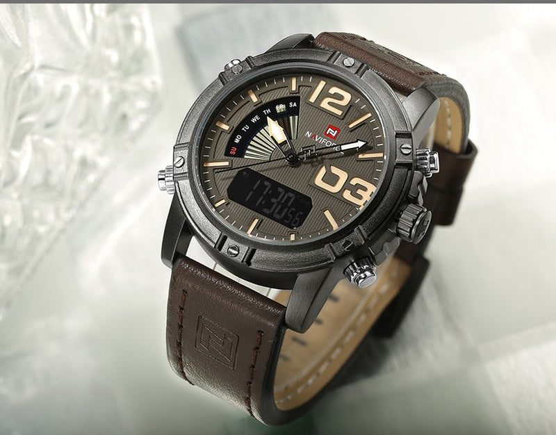 Men's Military Waterproof Watch Fashion Sport Watches Black Yellow Brown