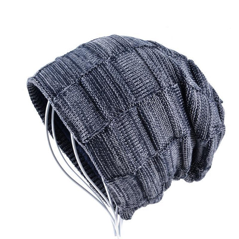 Mens Winter Knitted Wool Skullies Warm Casual Plaid Beanie