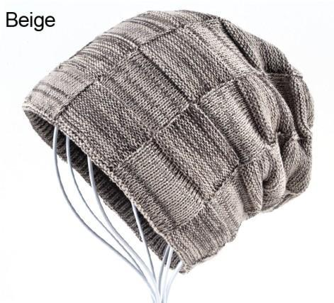 Mens Winter Knitted Wool Skullies Warm Casual Plaid Beige