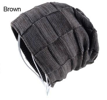 Mens Winter Knitted Wool Skullies Warm Casual Plaid Beanie Brown