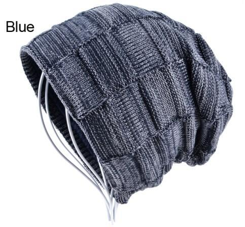 Mens Winter Knitted Wool Skullies Warm Casual Plaid Beanie Blue