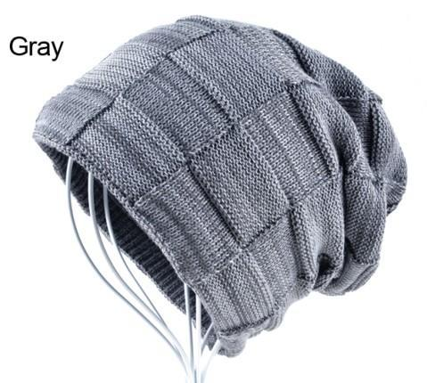 Mens Winter Knitted Wool Skullies Warm Casual Plaid Beanie Gray