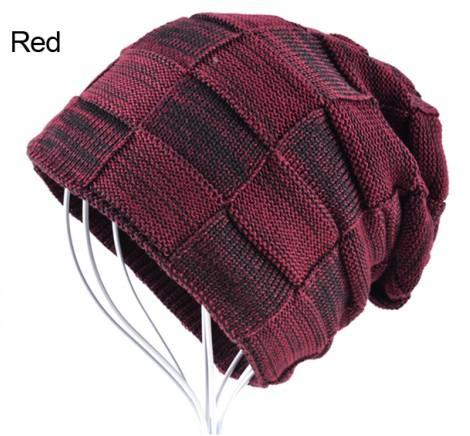 Mens Winter Knitted Wool Skullies Warm Casual Plaid Beanie Red