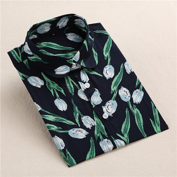 Women's Floral Button-Up Blouse - HEATHLEAF