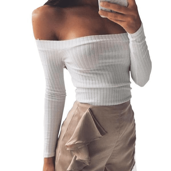 Winter Off Shoulder Crop Top Long Sleeve Pullover White