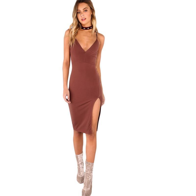 2018 Party Dress Sexy Bodycon Cami Slim Brown Spring Dress