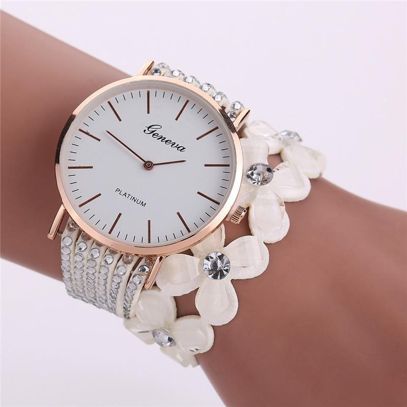 Women's Elegant Quartz Crystal Flower Bracelet Watch White