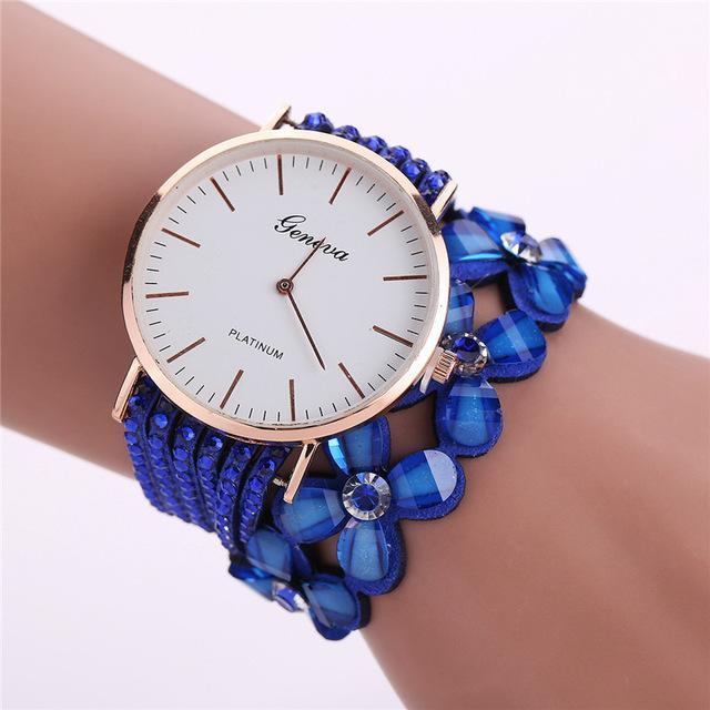 Women's Elegant Quartz Crystal Flower Bracelet Watch Blue