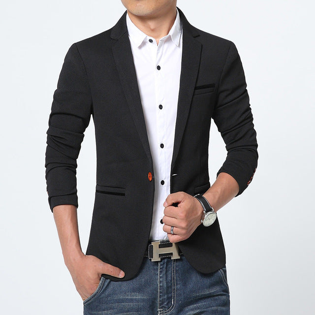 2018 Men's Slim Fit Spring Blazer - HEATHLEAF