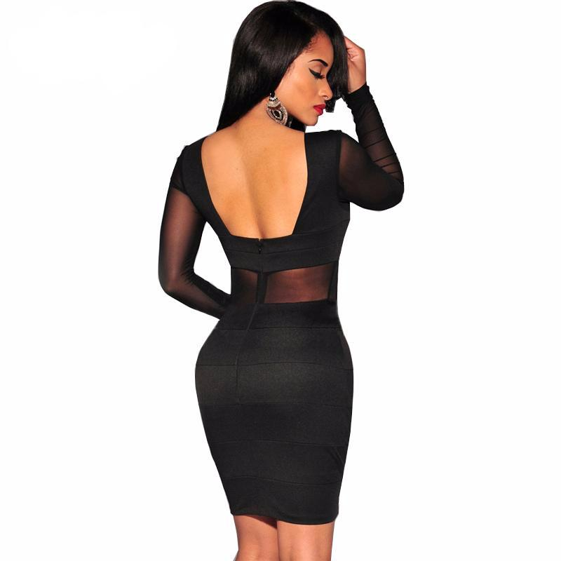 Women's Sexy Black Bandage Party Dress - HEATHLEAF