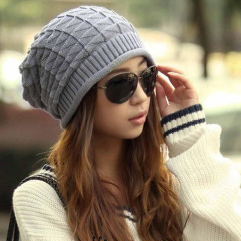 Winter Knitted Fashion Warm Crochet Caps Casual Skullies - Beanies